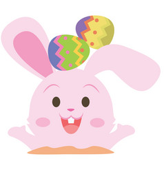 Collection of pink bunny with egg vector
