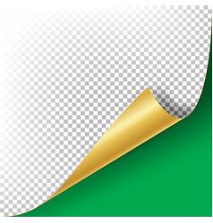 Curled golden metalic corner  paper with vector