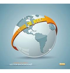 Globe design with around the world arrow vector image