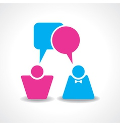 Male and female icons with dialog speech bubbles s vector image