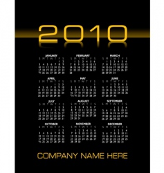 2010 calendar vector image vector image