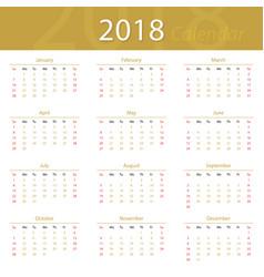 2018 calendar popular premium for business vector image