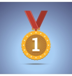 Gold award medal with red ribbon vector