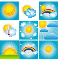 Sun and Coud Background Set vector image