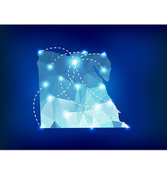 Egypt country map polygonal with spot lights vector