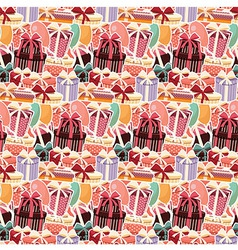 Birthday seamless background with sticker presents vector