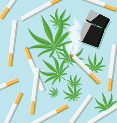 Cigarettes with hashish and lighter on a table vector