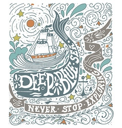 Hand drawn vintage label with a ship whale and vector