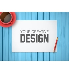 Creative workplace with white paper top view vector