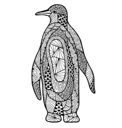 Zentangle a stylized penguin vector