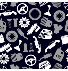 Car parts store simple icons seamless dark pattern vector