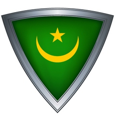 Steel shield with flag mauritania vector