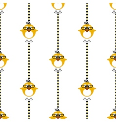 Seamless pattern with chikens with glasses and dot vector