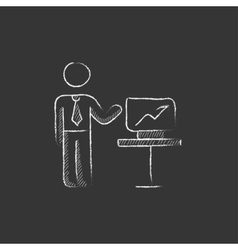 Business presentation drawn in chalk icon vector