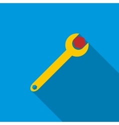 Spanner tool with screw nut icon flat style vector