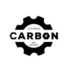 activated carbon logo with gear shape and form vector image