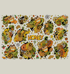 Cartoon set of honey theme doodles design vector