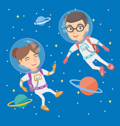 Caucasian astronaut kids in suits flying in space vector