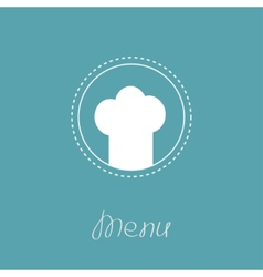 Chef hat inside round dash line frame menu card vector