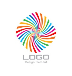 Colorful bright rainbow spiral logo vector