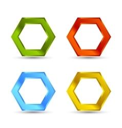 Colorful hexagon set vector image vector image