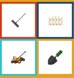 Flat icon farm set of wooden barrier trowel lawn vector