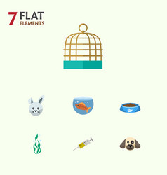 Flat icon pets set of bird prison fishbowl bunny vector