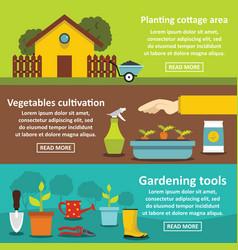 Gardening tools banner horizontal set flat style vector