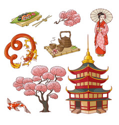 hand drawn japanese culture elements symbols vector image