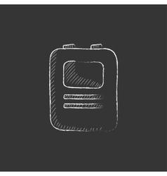 Heart defibrillator drawn in chalk icon vector