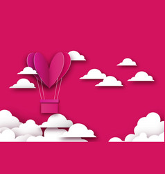Heart shape pink hot air balloon flying love in vector