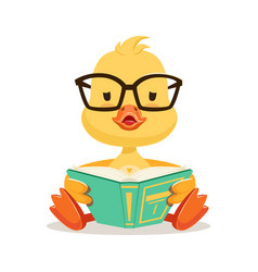 Little yellow duck chick in glasses sitting and vector