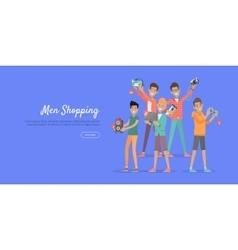 Man shopping conceptual flat web banner vector