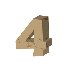 Number 4 stone rock font four stones alphabet vector