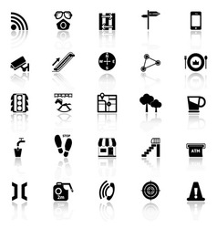 Pathway related icons with reflect on white vector