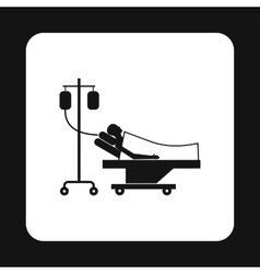 Patient in bed on a drip icon simple style vector image vector image