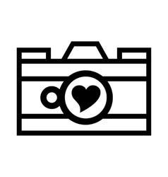 Photo camera with heart in the lens icon vector