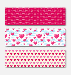 pink hearts horizontal banners set decoration for vector image vector image