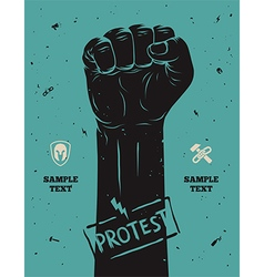 Protest poster raised fist held in protest vector