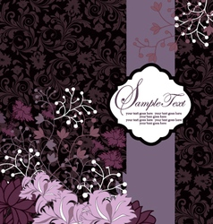 Purple floral card template vector image
