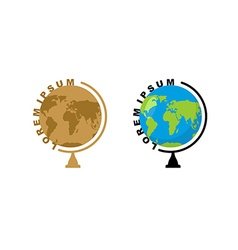 School globe logo Emblem for travel company Ball vector image