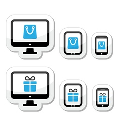 Shopping online internet shop icons set vector image