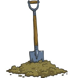 Shovel in the ground vector