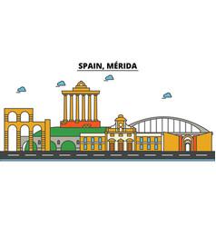 spain merida city skyline architecture vector image vector image