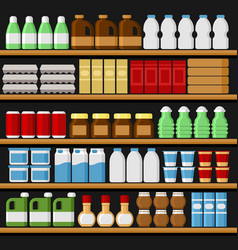 Supermarket shelfs shelves with products and vector