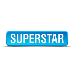 Superstar blue 3d realistic square isolated button vector