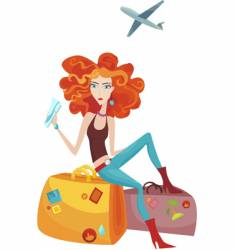 Traveling girl vector