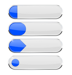 White oval buttons with blue tags with chrome vector