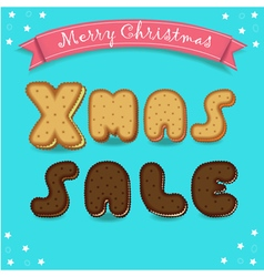 Xmas sale merry christmas cookies font vector