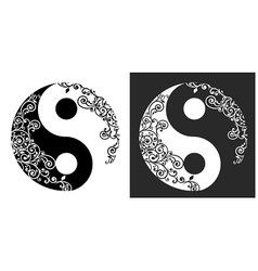 Yin yang two pattern symbol vector